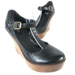 Aldo wood wedge Mary Jane shoes